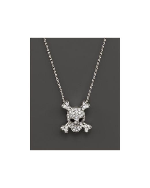 "Roberto Coin | Metallic 18k White Gold Diamond Skull & Crossbones Pendant Necklace, 16"" | Lyst"