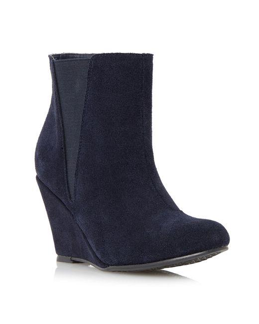 linea blue omari suede wedge heel ankle boots lyst