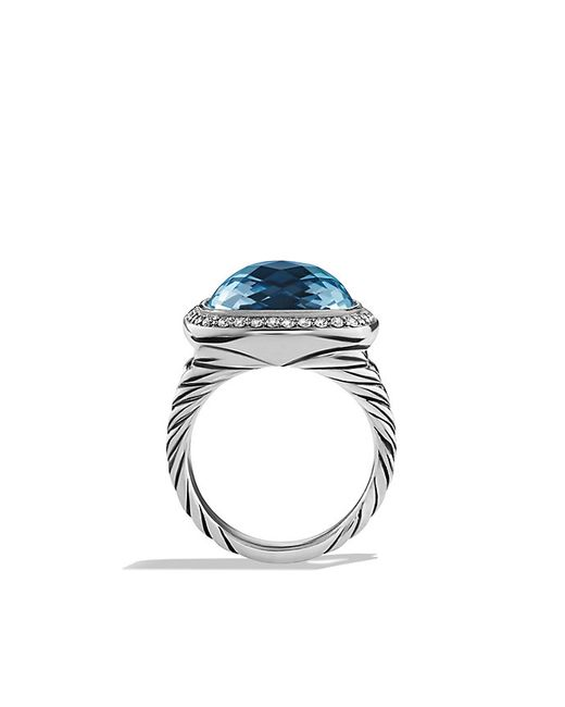 David Yurman | Albion Ring With Blue Topaz And Diamonds, 14mm | Lyst