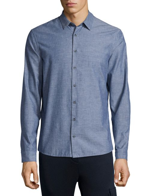 Atm chambray long sleeve shirt in blue for men navy lyst for Chambray long sleeve shirt