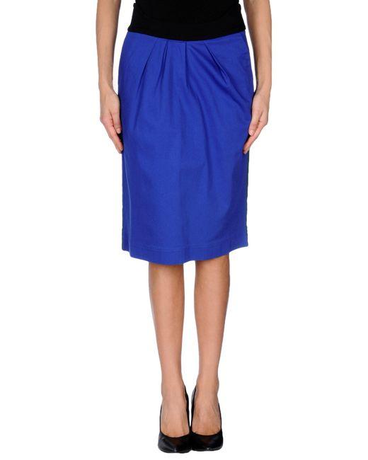 preen line knee length skirt in blue lyst