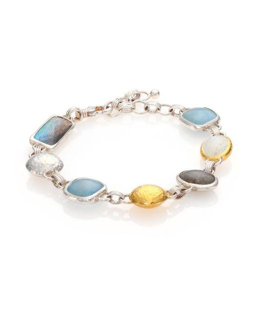 Gurhan | Metallic Lentil Semi-precious Multi-stone, 24k Yellow Gold & Sterling Silver Storm Bracelet | Lyst