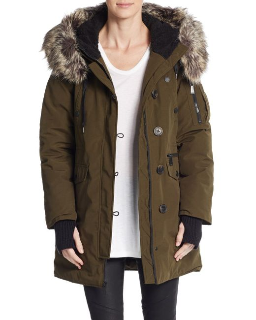 Bcbgeneration Winter Faux Fur Trimmed Parka In Green Army