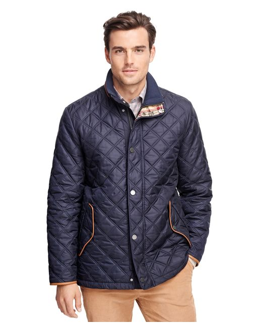 Brooks Brothers Quilted Walking Coat In Blue Dark
