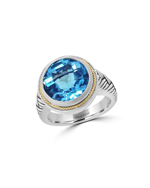 Effy | Blue Topaz 18k Yellow Gold And Sterling Silver Ring | Lyst