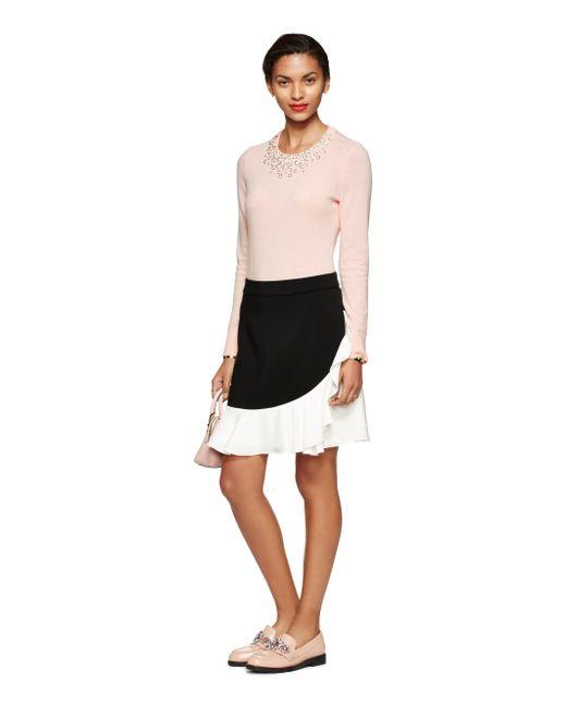 Kate Spade | Black Crepe Ruffle Skirt | Lyst