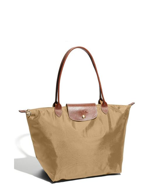 Sac Longchamp Pliage Beige : Longchamp le pliage large tote in brown beige lyst