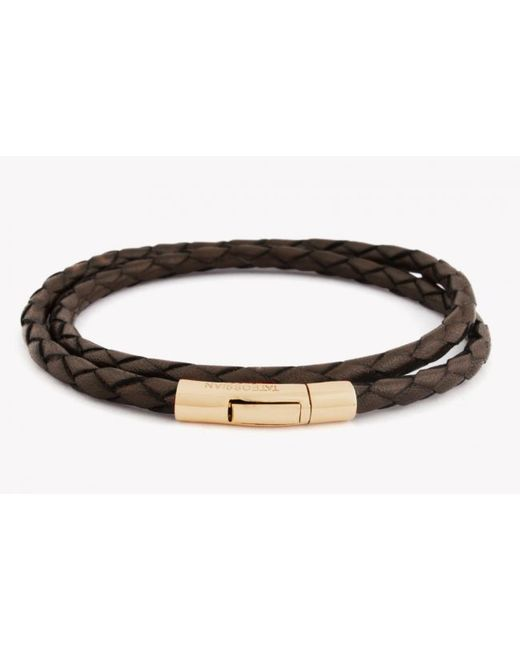 Tateossian | Double Wrap Scoubidou Brown Leather Bracelet With 18k Yellow Gold Clasp for Men | Lyst