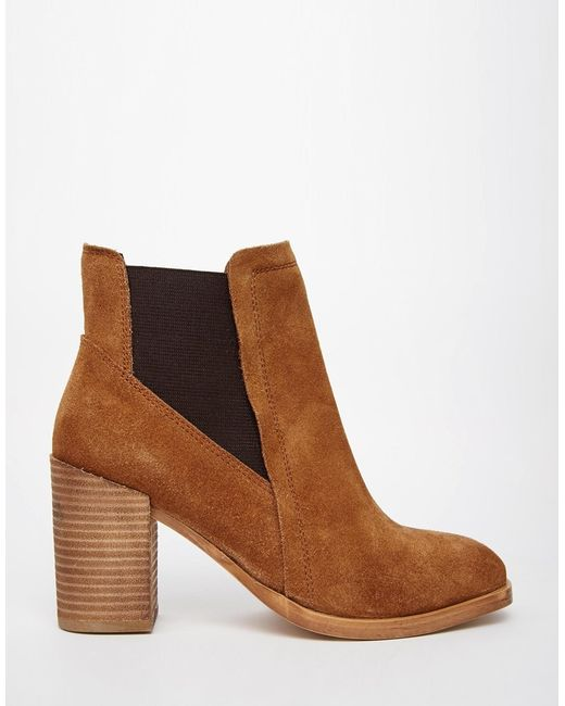 asos esme wide fit suede chelsea high ankle boots in brown