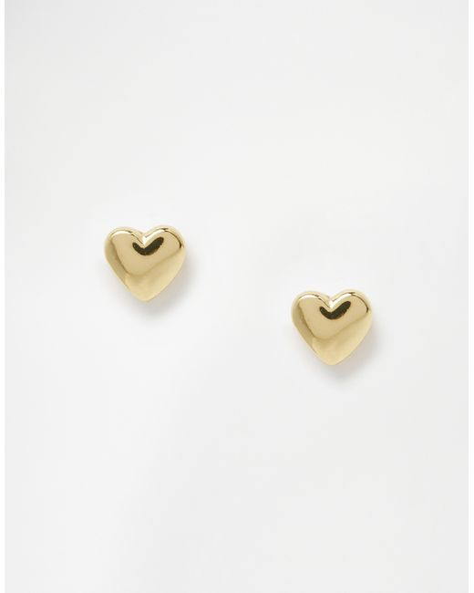 Ted Baker | Metallic Harly Tiny Heart Stud Earrings - Gold | Lyst