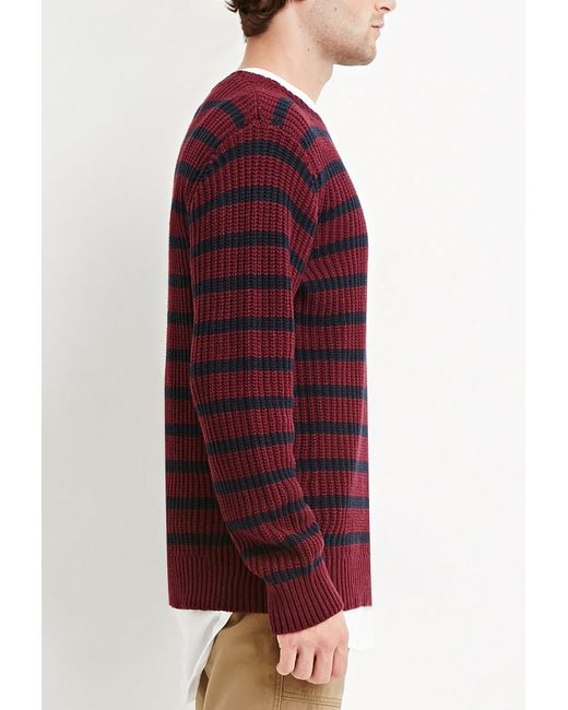 Agree, this blue and burgundy striped mens sweaters interesting