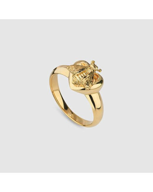 Gucci | Metallic Ring With Bee Heart Motif | Lyst