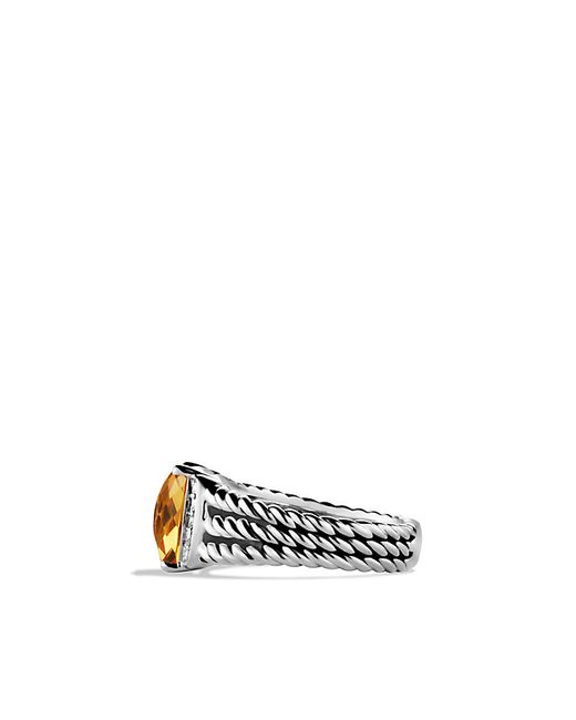 David Yurman | Metallic Petite Wheaton Ring With Citrine And Diamonds | Lyst
