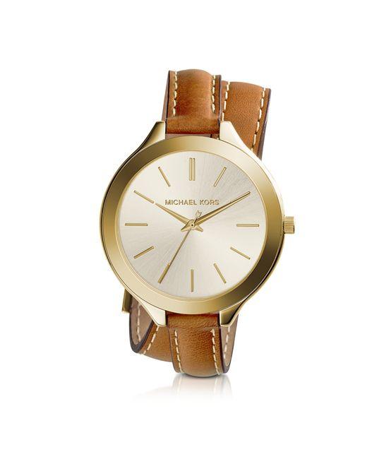 Michael Kors - Brown Slim Runway Double-wrap Women's Watch - Lyst
