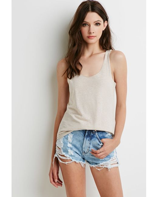 Forever 21 | Natural Heathered Knit Tank | Lyst