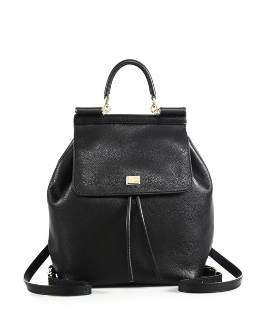 Dolce & Gabbana | Black Sicily Leather Backpack | Lyst