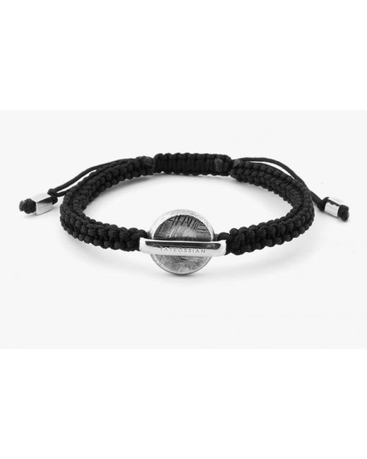 Tateossian | Meteorite Disc Macramé Bracelet In Black Nylon, Silver Cubes & Certified Meteorite for Men | Lyst