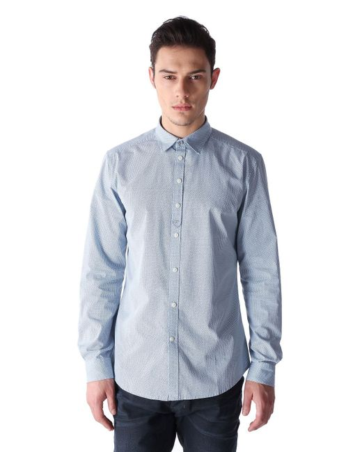 DIESEL | Blue Dot Print Cottonpoplin Shirt for Men | Lyst