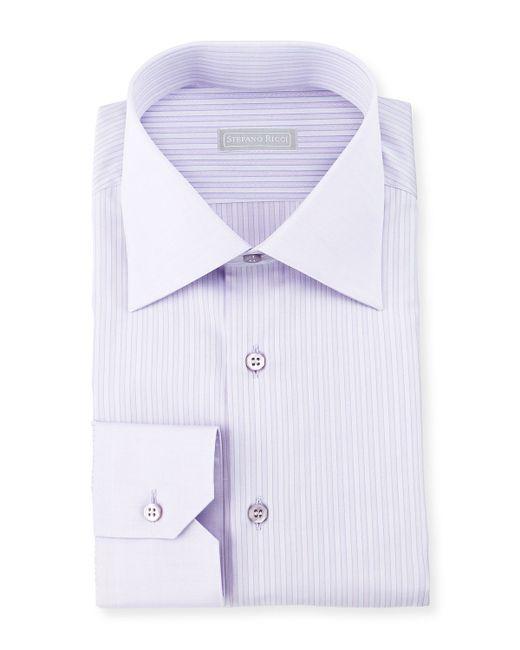 Stefano ricci striped barrel cuff dress shirt in purple for Purple french cuff dress shirt