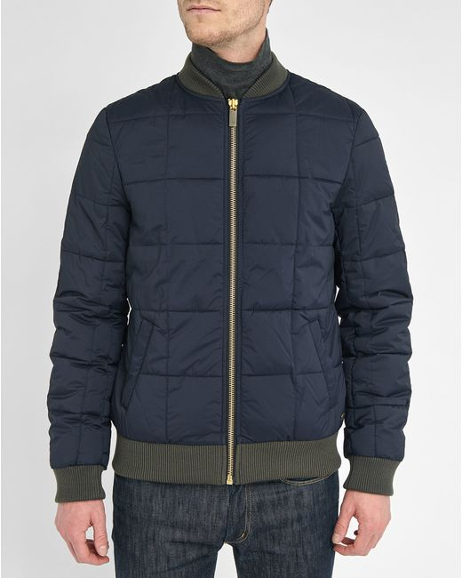 scotch and soda blue blue quilted nylon bomber jacket product 3. Black Bedroom Furniture Sets. Home Design Ideas