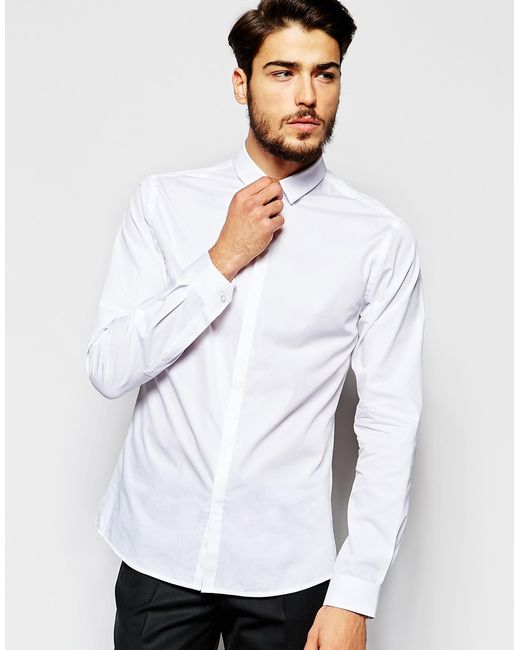 Noak | Shirt With Micro Collar In Skinny Fit - White for Men | Lyst