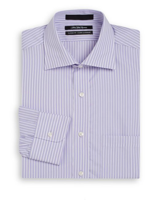 Saks fifth avenue classic fit bengal striped cotton dress Light purple dress shirt men