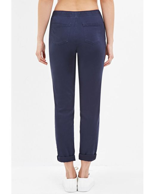 Forever 21 | Blue Cuffed Drawstring Pants | Lyst