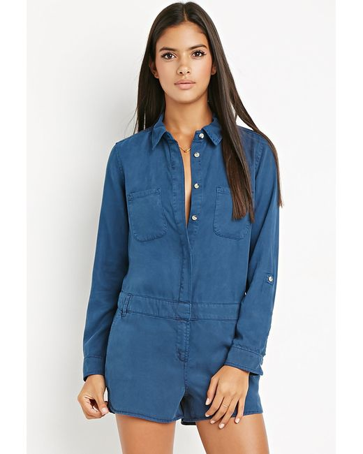 Forever 21 | Blue Contemporary Life In Progress Hidden-placket Romper | Lyst