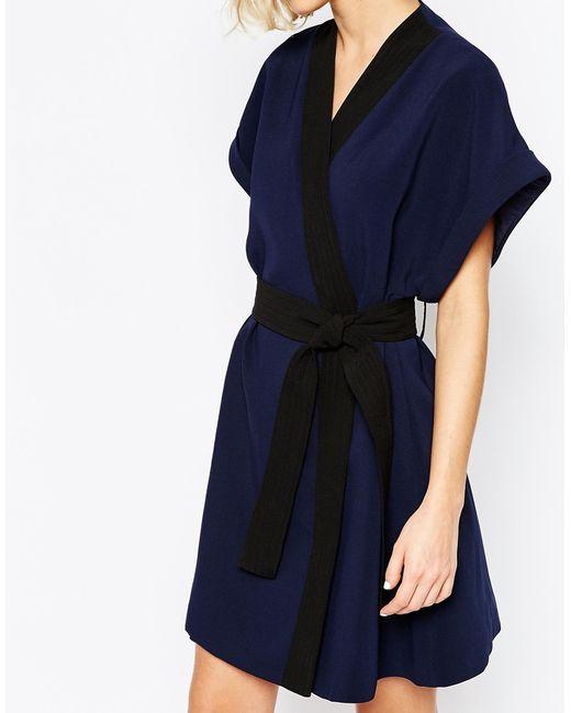 lavish wrap dress with obi belt in blue navy lyst