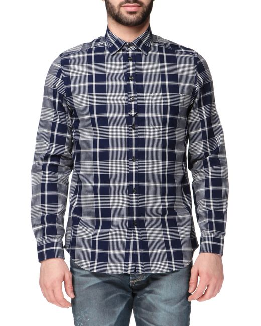DIESEL | Blue Long Sleeve Check Shirt for Men | Lyst