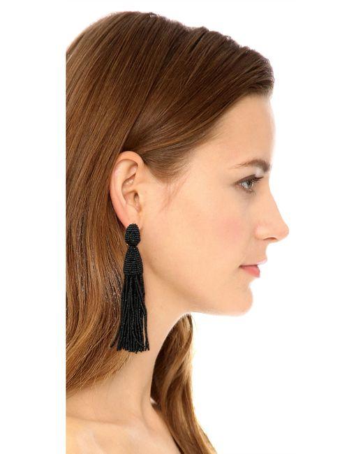 Oscar de la Renta | Black Classic Long Tassel Earrings | Lyst