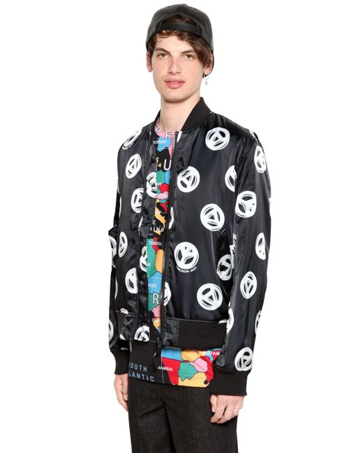 Love Moschino Peace Sign Printed Satin Bomber Jacket In