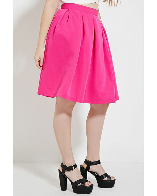 forever 21 plus size pleated skirt in pink fuchsia lyst