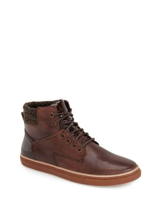 Joe's Jeans | Brown Benny Leather High-Top Sneakers for Men | Lyst