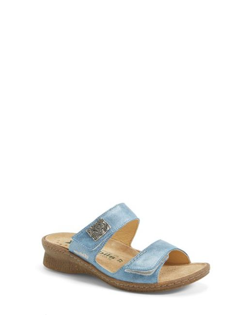 Mephisto   Blue 'Bregalia' Metallic Leather Sandal   Lyst