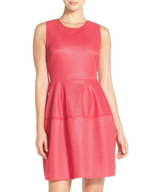 Ivanka Trump Jacquard Fit Amp Flare Dress In Pink Cerise