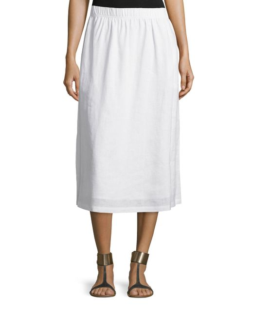 neiman linen a line midi skirt in white save 21