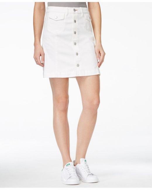 dittos a line white wash denim skirt in white lyst