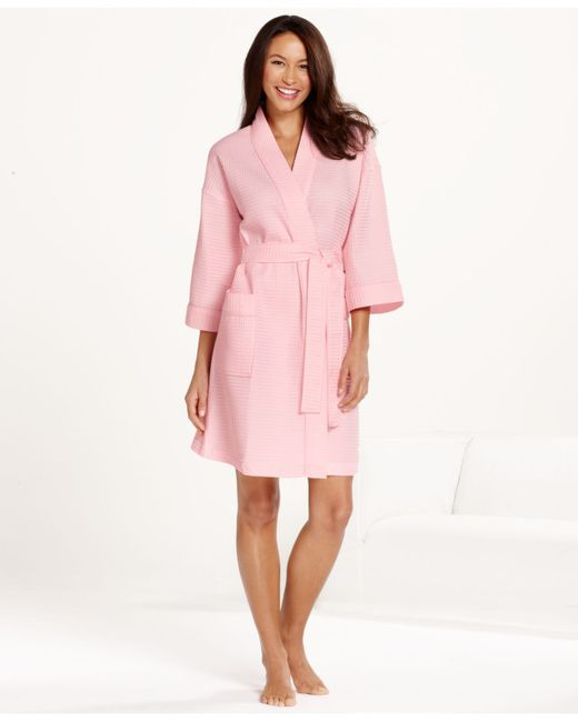 Charter Club Short Spa Waffle Robe In Pink