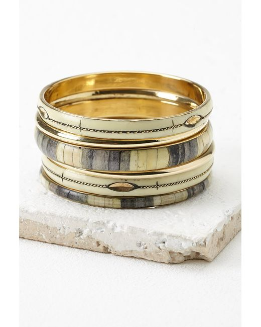 Forever 21 | Metallic Faux Stone Bangles Set | Lyst
