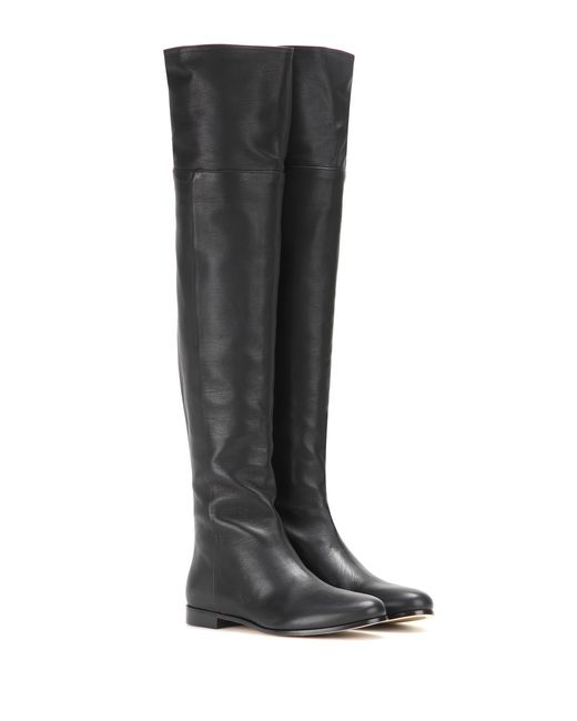 Jimmy Choo | Black Mitty Leather Over-The-Knee Boots | Lyst