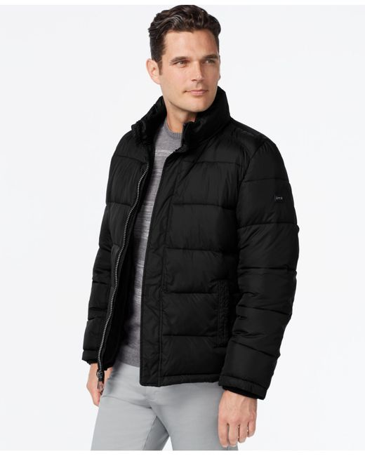 calvin klein big tall men 39 s puffer coat in black for men. Black Bedroom Furniture Sets. Home Design Ideas