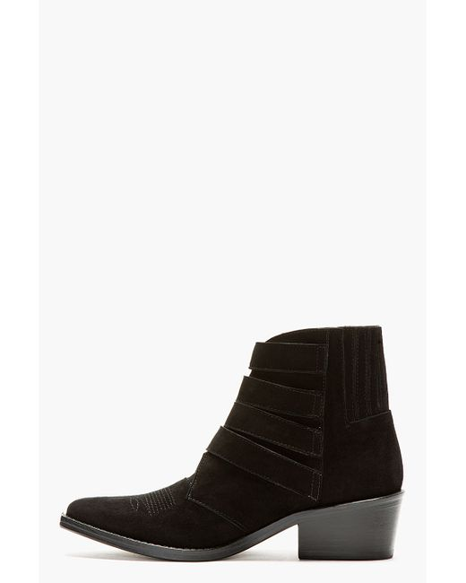 Toga Pulla | Black Buckled Suede Booties | Lyst