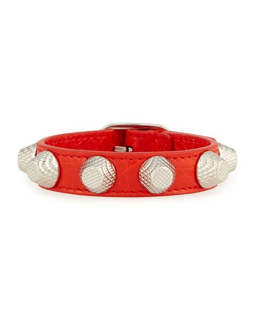 Balenciaga | Red Giant 12 Leather Bracelet With Studs | Lyst