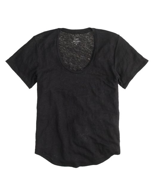 J.Crew | Black Linen Scoopneck T-shirt | Lyst