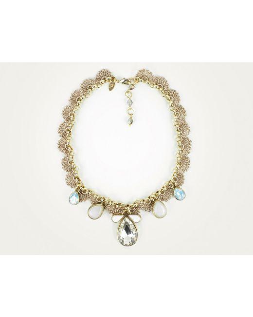 St Erasmus | Metallic Crystal Tear Drop Crochet Scallop Necklace | Lyst