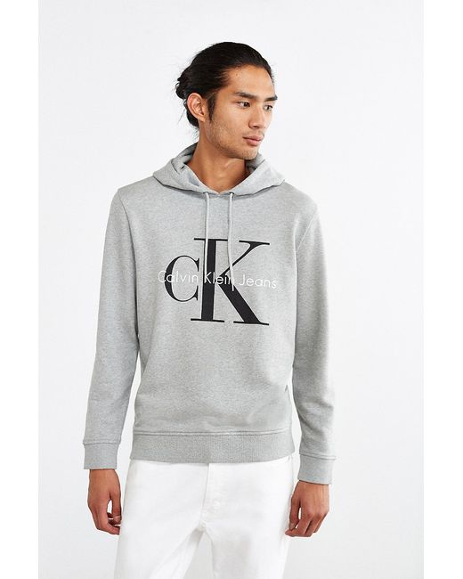 calvin klein jeans reissue hoodie sweatshirt in gray for. Black Bedroom Furniture Sets. Home Design Ideas