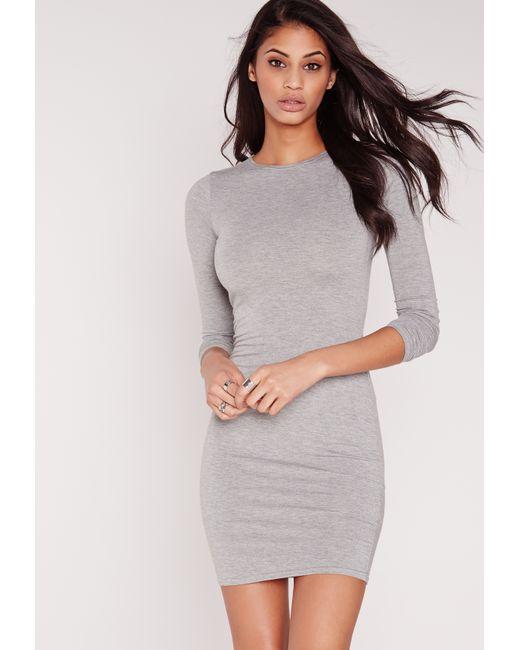 Missguided jersey bodycon mini dress grey in gray lyst - Femme mure en chaleur ...