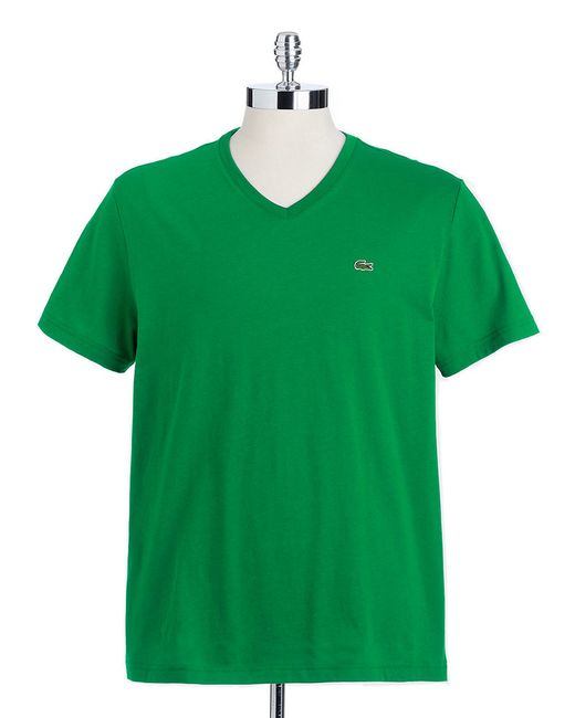 Lacoste | Green V-neck Cotton Tee for Men | Lyst