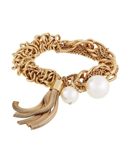 R.j. Graziano Metallic Pearl Accented Stretch Bracelet